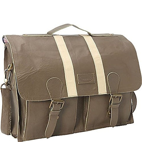Sharo Leather Bags Woman'S Computer Brief And Messenger Bag (Taupe)