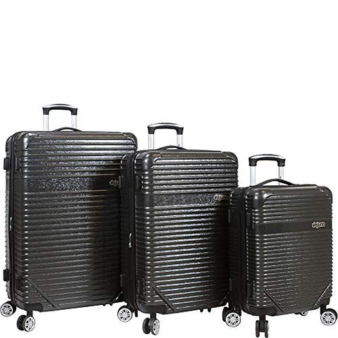 Dejuno Luna Lightweight 3-Piece Hardside Spinner Luggage Set-Black
