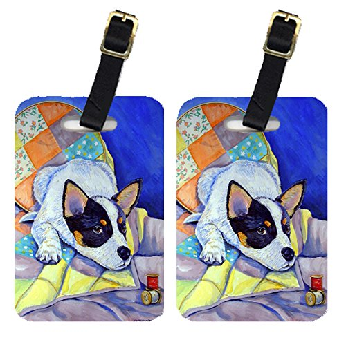 Caroline's Treasures 7050BT Pair of 2 Australian Cattle Dog Sew Perfect Luggage Tags, Large, multicolor