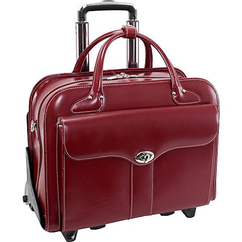"McKlein USA Berkeley 15"" Leather Rolling Laptop Tote EXCLUSIVE (Red)"