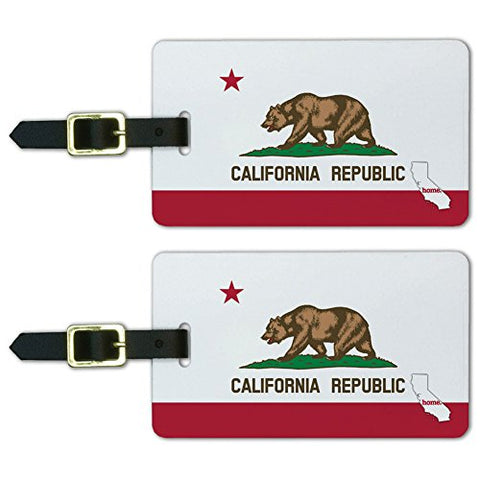 Graphics & More California Ca Home State Luggage Suitcase Id Tags-Flag, White