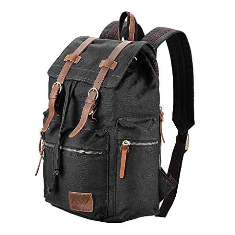 "Globe House Products GHP 17.3""x14""x5"" Canvas Vintage Wear-Resistant Multi-Purpose Backpack with Top"