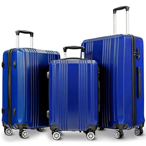 "GHP 20"" 24"" 28"" Navy Blue ABS Hard Shell Travel Suitcase Trolleys with TSA Lock"