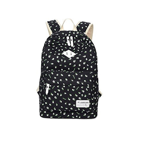 S Kaiko Flower Pattern Canvas Backpack School Backpack For Women And Men School Bag Daypack