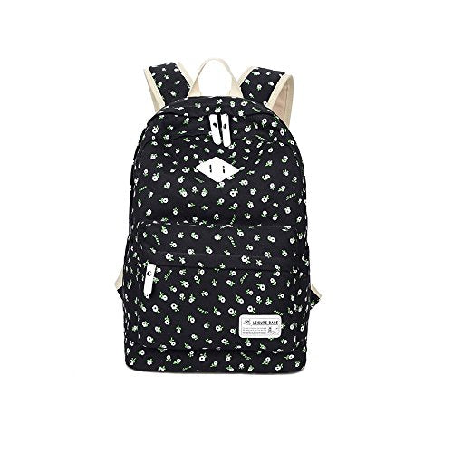 S Kaiko Flower Pattern Canvas Backpack School Backpack for Women and Men School Bag Daypack Rucksack Traveling Backpack for Hiking Clambing for Students (black)