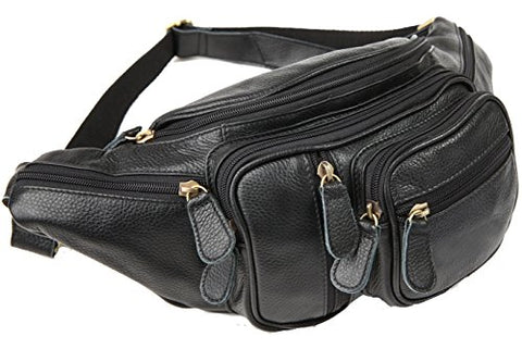 Polare Men'S Natural Leather Fanny Pack Waist Bag Black Large