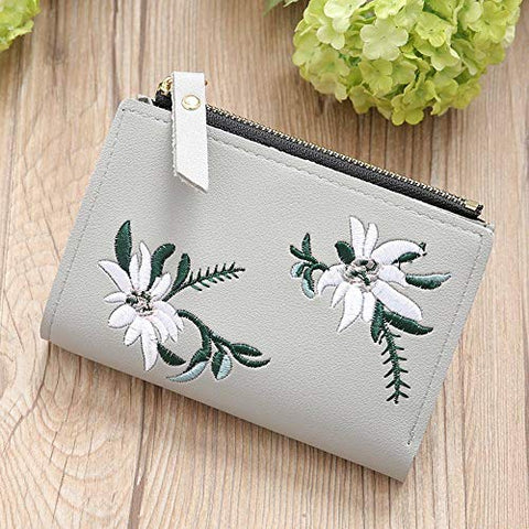 1PC Wallet Women Coin Bag PU Leather Simple Bifold Small Handbag Purse (Color - Gray)