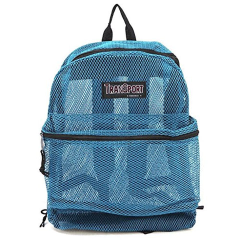 "17"" Transport See Through Mesh Backpack/ Travel/ Hiking/ Book School Bag (Sky Blue)"