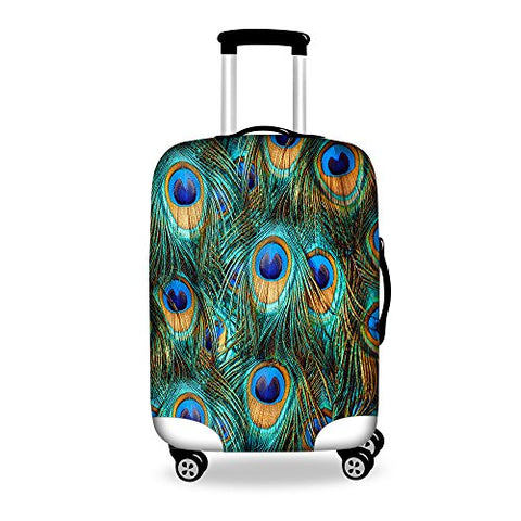 Youngerbaby Peacock Luggage Cover Spandex Travel Suitcase Protective 18/20/24/28 Inch
