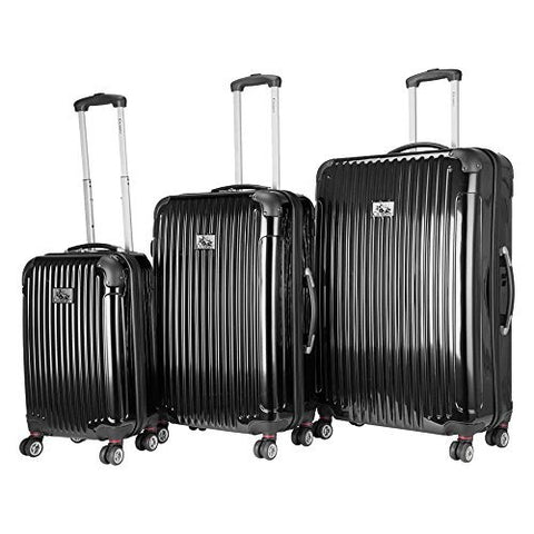 Chariot Paola 3-Piece Hardside Expandable Lightweight Spinner, Black