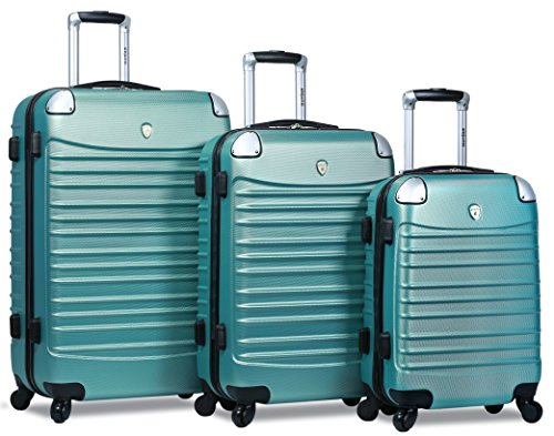 Dejuno Impact Hardside 3-Piece Spinner Luggage Set, Green