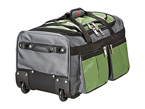 "Athalon 22"" 15 Pocket Wheeling Duffel Carry On Bag, Green. 521-Green Grass"