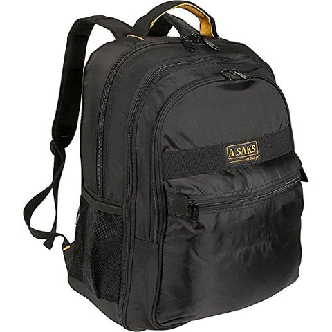 A. SAKS Deluxe Expandable Laptop Backpack, Black/Yellow