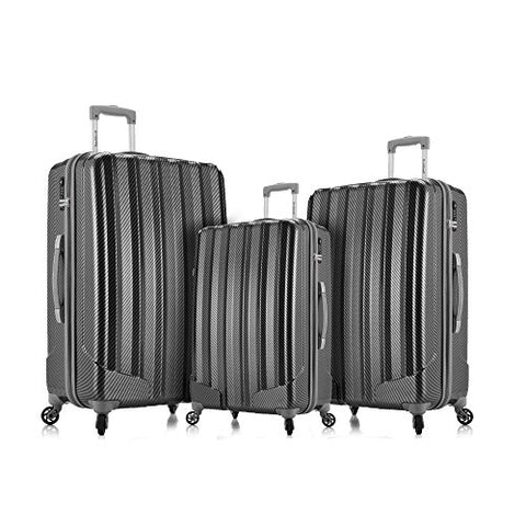 Rockland Barcelona 3 Polycarbonate/Abs 6 Pc. Travel Set And Luggage Cover, Black