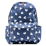 Damara Students Preppy Style Oxford Canvas Blue Backpack Shoulders Bag,Heart