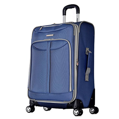 Olympia Tuscany 25 Inch Expandable Vertical Rolling Luggage Case, Denim Blue, One Size