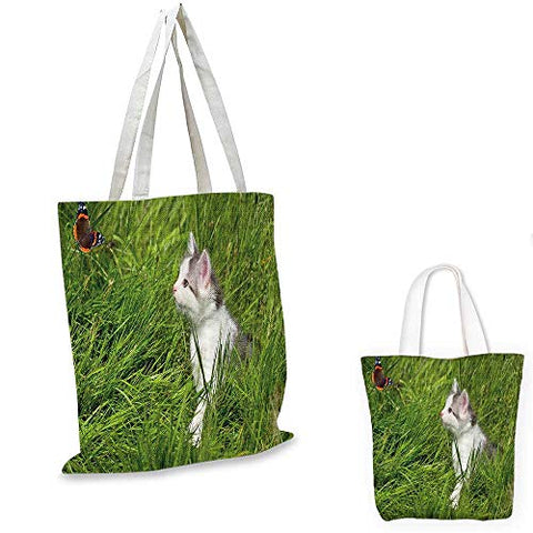 Nature canvas messenger bag Cute Cat Watching a Butterfly on Grass Field Garden Inspirational