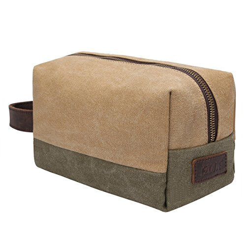 S-ZONE Canvas Travel Toiletry Bag Organizer Shaving Dopp Kit Cosmetic Bag Makeup Bag