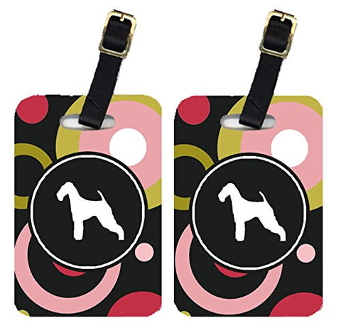 Caroline's Treasures KJ1003BT Pair of 2 Airedale Luggage Tags, Large, multicolor
