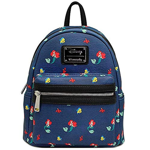Loungefly x Disney Ariel Flounder Sebastian AOP Mini Backpack