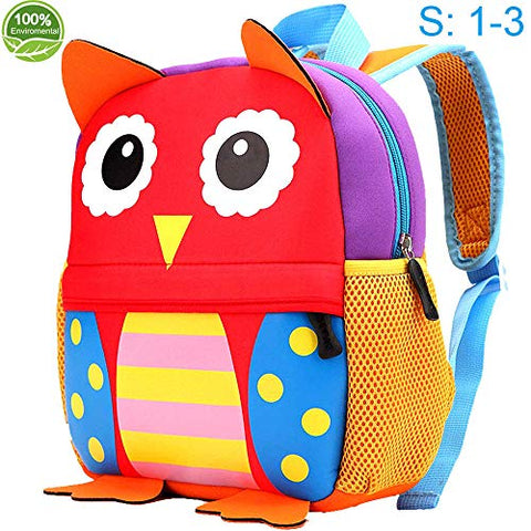 "Toddler Backpack for Boys and Girls, 10.6"" Owl School Bag, Suitable for 1-3 Years kids"