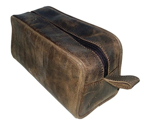 Mens Toiletry Bag Shaving Dopp Case For Travel by Bayfield Bags (Brown)
