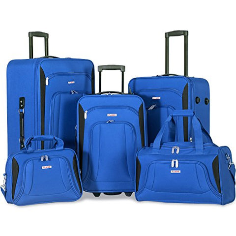 Flieks 5 Piece Luggage Set Deluxe Expandable Rolling Suitcase (blue&black)