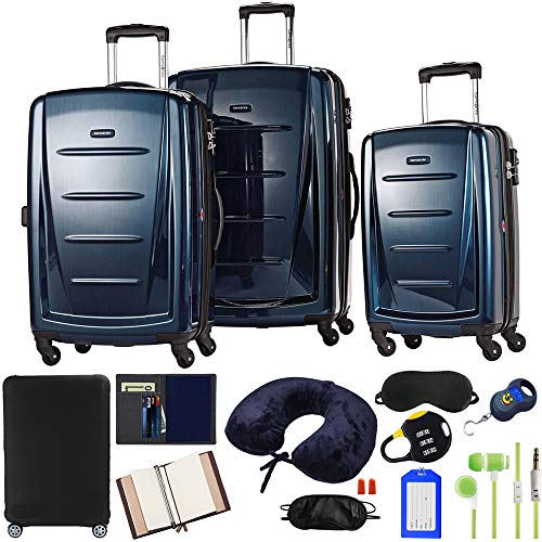 Samsonite 56847-1277 Winfield 2 Fashion Hardside 3 Piece Spinner Set - Deep Blue Bundle w/Luggage Accessory Kit (10 Item)