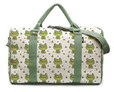 Watercolor Little Frog & Green Leaves-2 Printed Canvas Duffle Travel Bag Was_42
