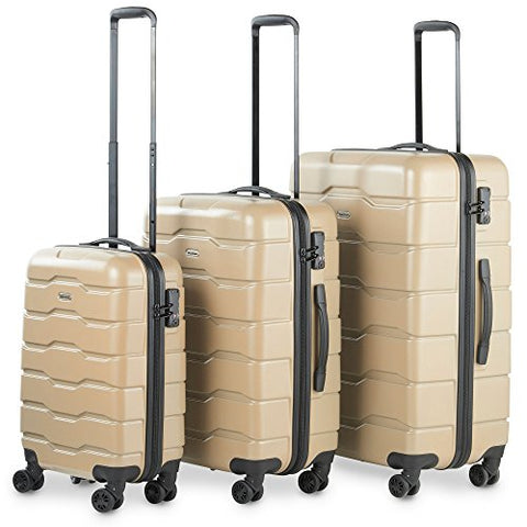 Vonhaus Premium Champagne 3 Piece Lightweight Luggage Set – Hardshell Travel Suitcase With Tsa