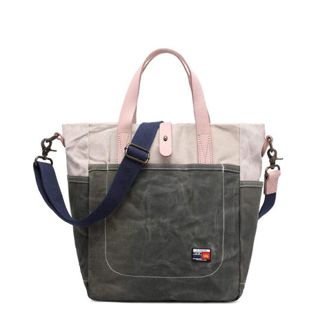 Men's Handbag, Oil Wax Canvas Bag, Simple Waterproof Bag, Casual Retro, Size: 28 34 18cm, Beige
