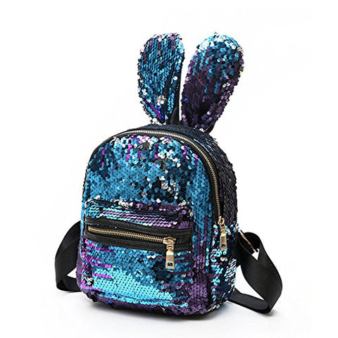 Aibearty Rabbit Ears Backpack Sequins Rucksack Casual Bag