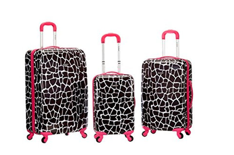 Rockland 3 Piece Safari Polycarbonate Abs Upright Set, Pinkgiraffe, One Size