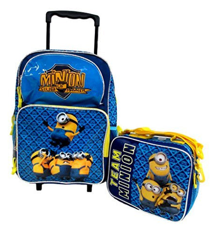 "Despicable Me 2 Minions Don'T Move Large 16"" Rolling Wheeled Book Bag School Backpack & Lunch Bag"