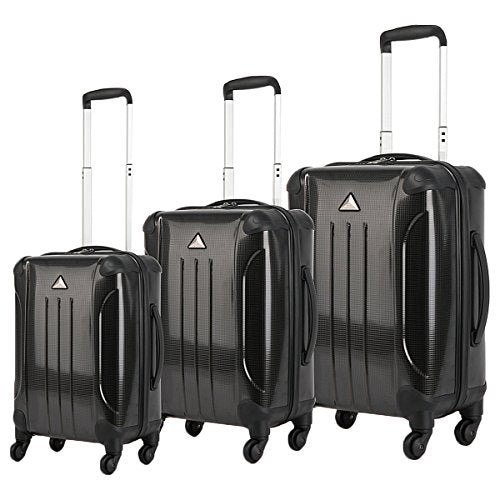 The Set of Classic black Triforce Apex 101 Collection Hardside 3-piece Spinner Luggage Set
