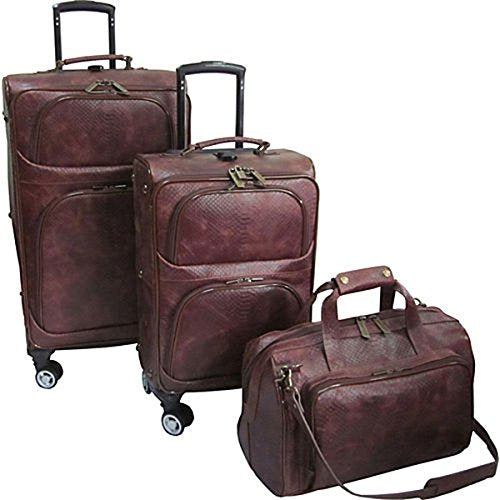 The Set Of Classic Brown Python Amerileather 3 Piece Spinner Traveler Luggage Set