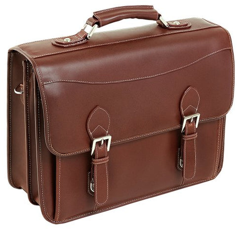 Siamod Belvedere 25064 Cognac Leather Double Compartment Laptop Case