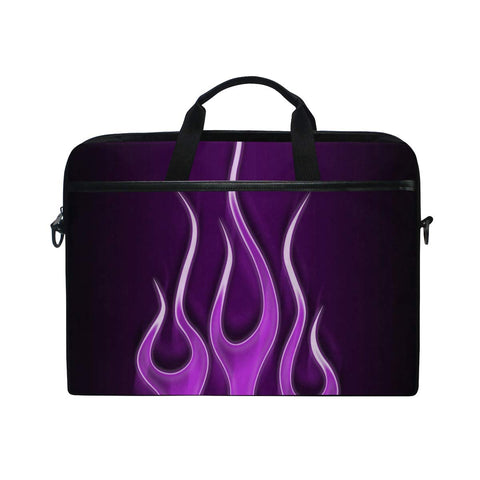 Flames Electric Purple Laptop Case Laptop Shoulder Bag Notebook Sleeve Handbag Computer Tablet Briefcase Carrying Case Cover with Shoulder Strap Handle 14 15inch for Men Women Travel/Business/School