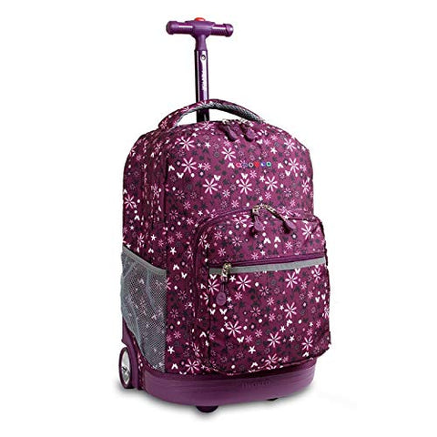 J World New York Sunrise 18-inch Rolling Backpack - Garden Purple Floral Polyester Checkpoint-Friendly Adjustable Strap Lined Water Resistant