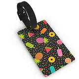 Luggage Tags - Colorful Geometric Fruits And Desserts Travel Baggage ID Suitcase Labels Accessories