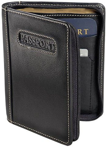 Deluxe Zip-Around Passport Case Color: Black