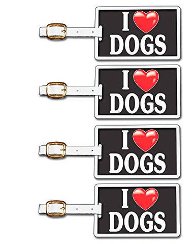 Tag Crazy I Heart Dogs Four Pack, Black/White/Red, One Size