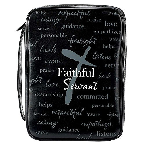 Faithful Servant Gray Cross 10 x 7 Faux Leather Mens Bible Cover Case X-Large