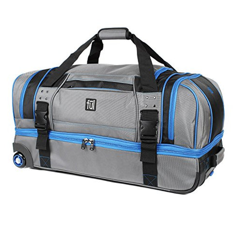 Ful Streamline 30in Soft Rolling Duffel Bag, Retractable Pull Handle, Split Level Storage, Grey