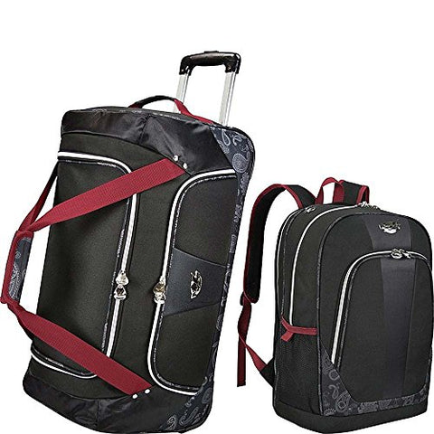 Bret Michaels Classic Road 2pc Rolling and Laptop Backpack Travel Set in Black