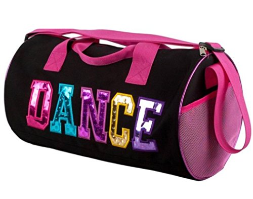 Black and Fuchsia Dance Duffel Bag with Multicolored Dance Print