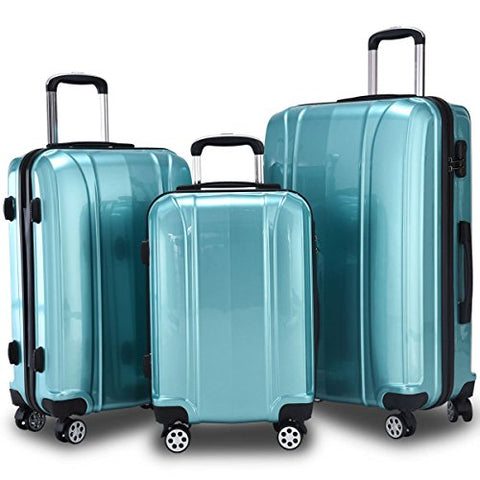 "GHP 20"" 24"" 28"" ABS & PC Shell Blue Trolley Suitcase Travelling Luggage Set w Wheels"