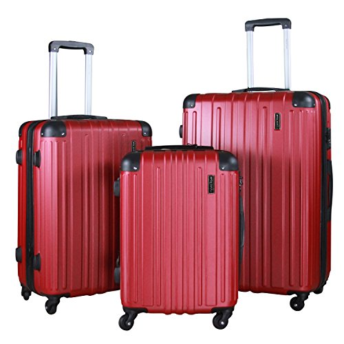 3 Pc Luggage Set Durable Lightweight Spinner Suitecase Lug3 1602 Red