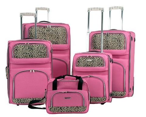 Rockland Luggage 5 Piece Leopard Set, Pink, Large