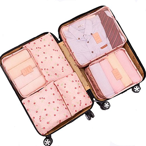 6Pcs Waterproof Travel Storage Bags Clothes Packing Cube Luggage Organizer Pouch (Pink cherry)